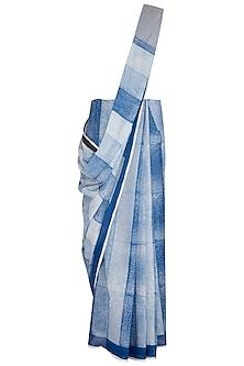 Indigo Printed Cotton Saree by Silkwaves