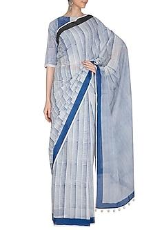 Indigo Hand Block Printed Cotton Saree by Silkwaves