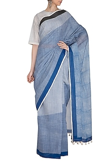 Indigo Block Printed Cotton Saree by Silkwaves
