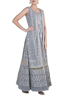 Grey Lucknowi Bustier Gown With Jacket by Sole Affair