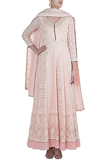 Rose Pink Lucknowi Anarkali With Dupatta by Sole Affair