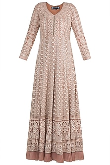 Nude Lucknowi Anarkali Kurta With Dupatta by Sole Affair