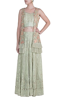 Olive Green Embroidered Jacket Lehenga Set by Sole Affair