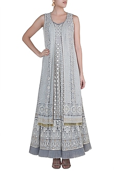 Silver Grey Lucknowi Gown With Jacket by Sole Affair