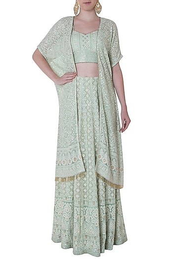 Sea green embroidered lehenga skirt with bustier and jacket by SOLE AFFAIR