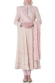 Rose pink embroidered kurta set by SOLE AFFAIR