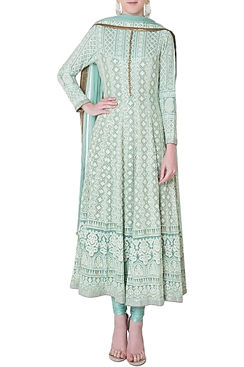 Jade green embroidered kurta set by SOLE AFFAIR