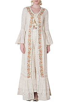 Ivory embroidered jacket with bustier and pants by SOLE AFFAIR