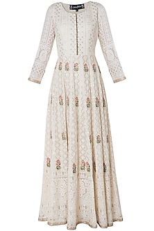 Ivory embroidered gown with dupatta
