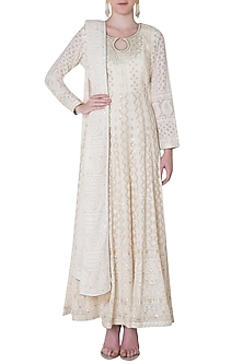 Ivory lucknowi embroidered gown with dupatta by SOLE AFFAIR