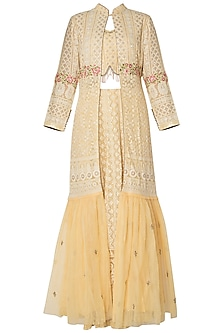 Yellow embroidered lucknowi lehenga skirt with bustier and jacket