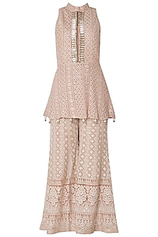 Nude embroidered peplum kurta with pants
