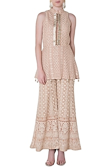 Nude embroidered peplum kurta with pants by SOLE AFFAIR
