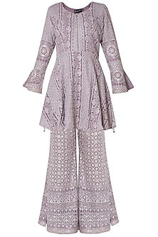 Lilac embroidered peplum kurta with pants