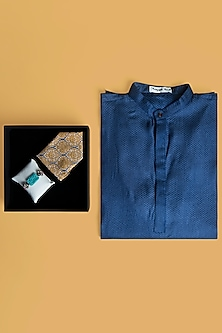 Combo Of Blue Kurta Set & Rakhi Gift Hamper by SONNET