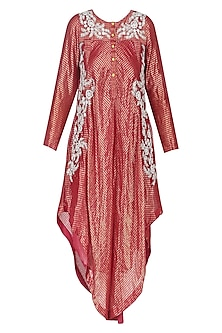 Red Floral Dori Embroidered Asymmetric Kurta