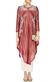 Red Floral Dori Embroidered Asymmetric Kurta by Sloh Designs