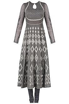 Grey Aari Embroidered Anarkali Kurta Set