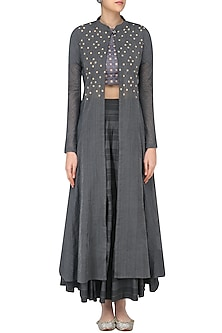 Grey Embroidered Layered Style Blouse, Jacket and Skirt Set by Sloh Designs