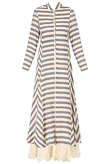 Ivory and Grey Striped Kurta with Chanderi Crushed Inner