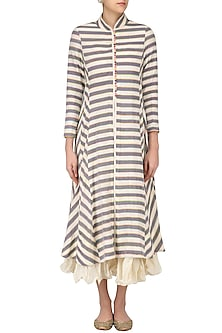 Ivory and Grey Striped Kurta with Chanderi Crushed Inner by Sloh Designs
