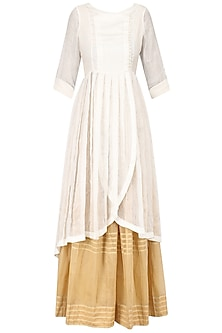 White Angrakha Style Kurta and Beige Pleated Skirt Set