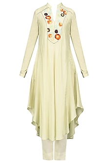 Creme Thread Work Asymmetrical Kurta with Pants Set