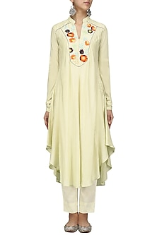Creme Thread Work Asymmetrical Kurta with Pants Set by Sloh Designs