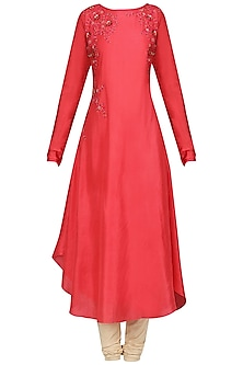 Candy Red Dori Work Asymmetrical Kurta