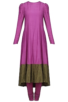 Purple Muga Silk Anarkali Set