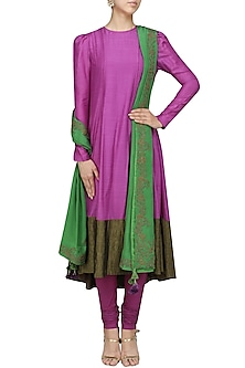 Purple Muga Silk Anarkali Set by Sloh Designs