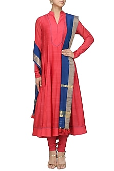 Candy Red Hand Beaded Anarkali Set by Sloh Designs