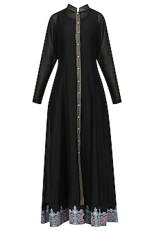 Black Front Open Jacket Kurta by Sloh Designs