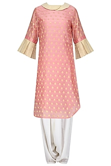 Ballet Pink Tissue Chanderi Kurta with Dhoti Pants Set