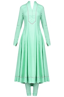 Mint Hand Beaded Anarkali Set