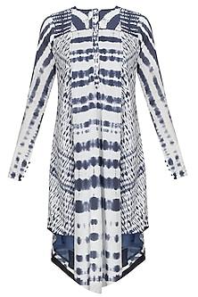 Indigo Tie And Dye Printed Asymmetric Kurta by Sloh Designs