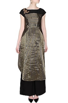 Black And Gold Multiple Striped Asymmetric Long Kurta by Sloh Designs