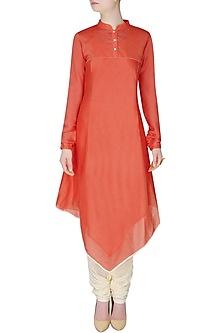 Orange Asymmetric Long Kurta by Sloh Designs