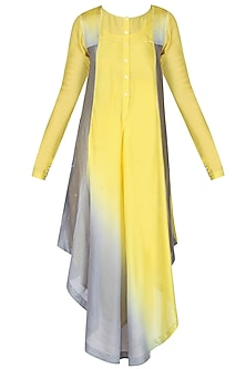 Yellow And Grey Ombre Shaded Asymmetric Long Kurta by Sloh Designs