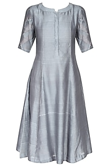 Lilac And Grey Ombre Shaded Pleated Kurta