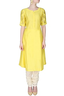 Yellow Long Kurta With Rumpled Up Striped Sleeves by Sloh Designs