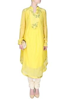 Lemon Yellow And Green Floral Printed Asymmetric Long Kurta by Sloh Designs