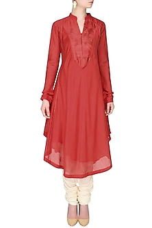 Red Asymmetric Floral Printed Long Kurta by Sloh Designs