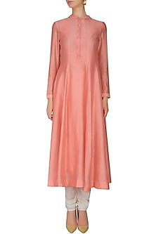 Peach Pleated Long Kurta by Sloh Designs