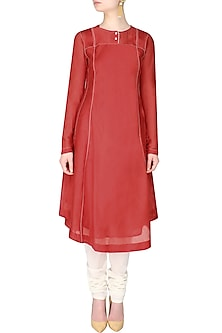 Red Layered Kurta With Thread Work Ladder Trim Detailing by Sloh Designs