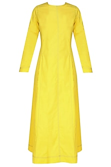 Yellow Pintucked Striped Pleated Kurta by Sloh Designs