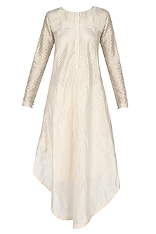 Golden Multiple Striped Asymmetric Long Kurta by Sloh Designs