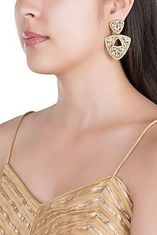 Matte Gold Finish Triangle Uncut Carved Stone Dangler Earrings by Shillpa Purii