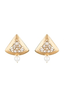 Matte Gold Finish Uncut Triangle Stone Stud Earrings by Shillpa Purii