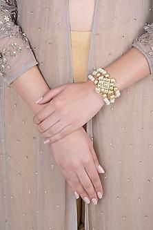 Matte Gold Finish 3 Line Pearls & Kundan Adjustable Bracelet by Shillpa Purii